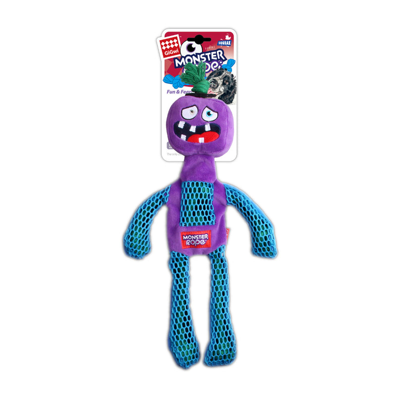 Gigwi Monster Rope Squeaker Purple Dog Toy, Retail Pack