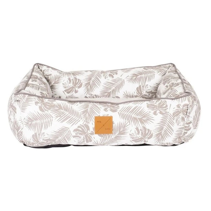 Mog & Bone Bolster Bed Mocca Tropical Leaves Print - Dog Bed