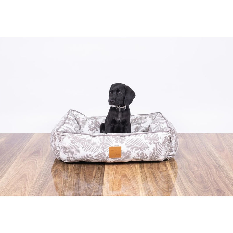 Mog & Bone Bolster Bed Mocca Tropical Leaves Print