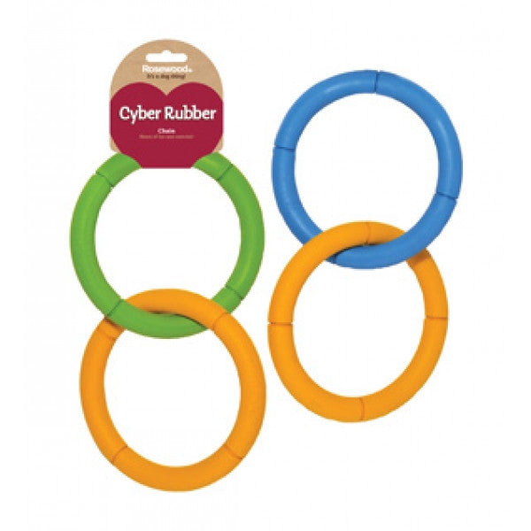 Rosewood Cyber Rubber Chain Dog Toy - Assorted Colours