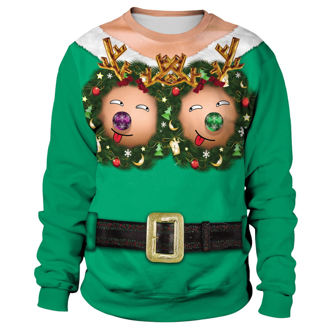 Fun Boobs Print Women Ugly Christmas Long Sleeve Sweatshirt Sweater