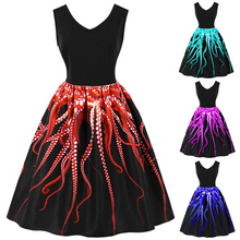 Load image into Gallery viewer, Vintage Elegant  Sea Creature Print Dress