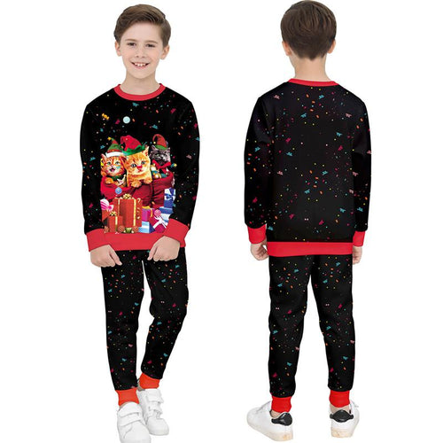 Christmas Print Round Collar Kids Sweatshirt and Pants