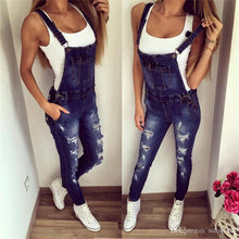 Load image into Gallery viewer, Fashion Hole Button Pocket Causal Long Overalls Jumpsuits