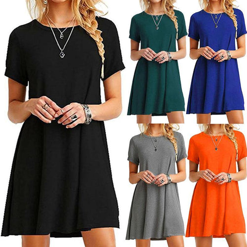 Casual Plain Short Sleeve Simple Loose Dress