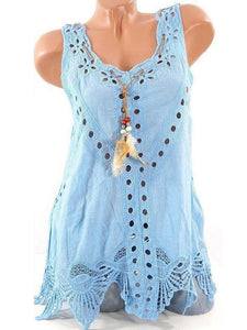 Summer Laciness Hollow Out Sleeveless Sweet Tank Top