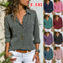 Load image into Gallery viewer, Casual Long Sleeve Plain Button Pocket Blouses