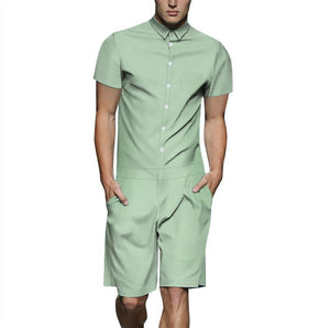 Men's Green Color Casual Short Sleeve Shirt One Piece Romper