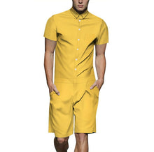 Load image into Gallery viewer, Men's Solid Color Casual Short Sleeve Shirt One Piece Romper