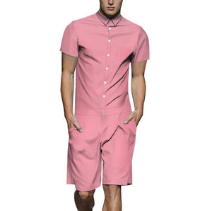 Men's Pink Color Casual Short Sleeve Shirt One Piece Romper