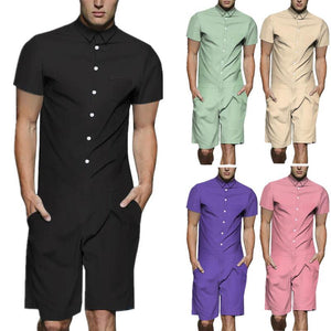 Men's Solid Color Casual Short Sleeve Shirt One Piece Romper