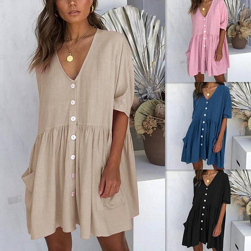 Women Fashion Casual Short Sleeve V Neck Loose T-shirt Dress