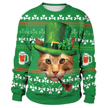 Load image into Gallery viewer, Green Long Sleeve Cat Print Sweatshirt