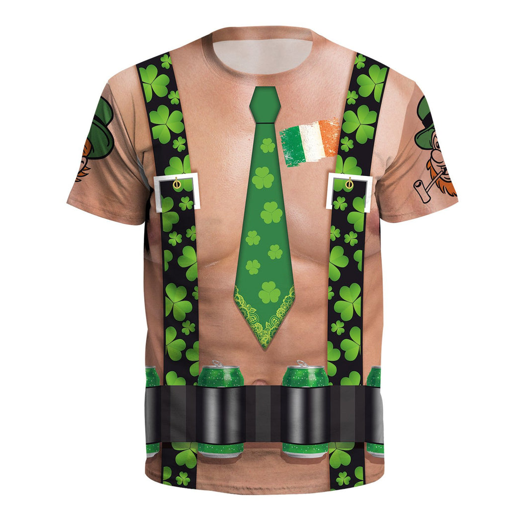 Saint Patrick's Day Tie Shamrocks Print T-shirt