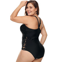 Load image into Gallery viewer, One Piece Lattice Front Plus Size Swimsuit