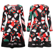Load image into Gallery viewer, Christmas Cartoon Print Mesh Dress