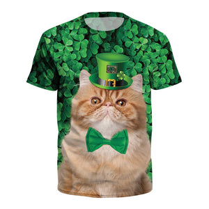 Cat Print Green T-shirt