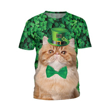 Load image into Gallery viewer, Cat Print Green T-shirt
