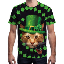 Load image into Gallery viewer, Four-leaf Clovers Cat Print T-shirt