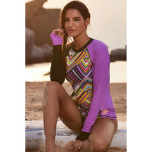 Load image into Gallery viewer, Surf Suit Diving Suit Printed Long-sleeved Large Size Swim Top