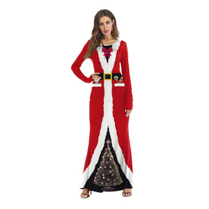 Santa Claus Costume Christmas 3D Printed Ball Party Long Dresses