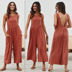 Solid Color Loose Casual Tank Top Jumpsuit