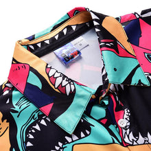 Load image into Gallery viewer, Men's Shark Print Short Sleeve Shirt One Piece Romper