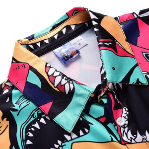 Men's Shark Print Short Sleeve Shirt One Piece Romper