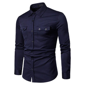 Men's Casual Business Solid Color Lapel Casual Long Sleeve Shirt