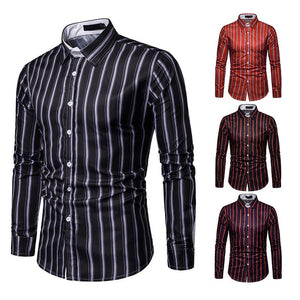 Men's Casual Business Stripe Casual Long Sleeve Shirt