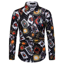 Load image into Gallery viewer, Men's Poker Print Casual Long Sleeve Shirt
