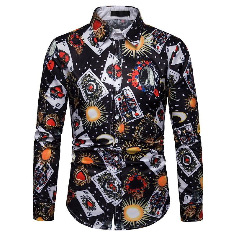 Men's Poker Print Casual Long Sleeve Shirt