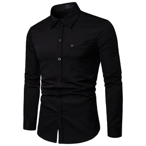 Men's Casual Business Solid Color Long Sleeve Shirt