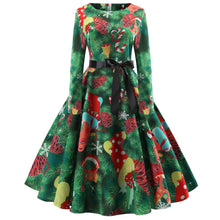 Load image into Gallery viewer, Christmas Tree Print Vintage Dress
