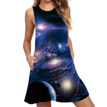 Load image into Gallery viewer, Galaxy Print Sleeveless Pocket Tank Dress