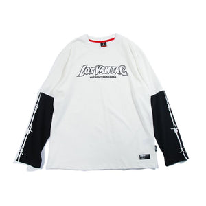 Letter Contrast False Two Piece T-shirt