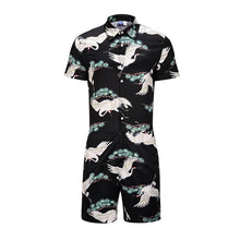 Load image into Gallery viewer, Men's Red-crowned Crane 3D Print Short Sleeve Shirt One Piece Romper