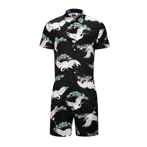 Men's Red-crowned Crane 3D Print Short Sleeve Shirt One Piece Romper