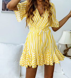 Striped Print Mini Wrap Tea Dress