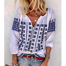 Load image into Gallery viewer, Handmade Embroidered Long Sleeve Loose V-Neck Shirt Plus Size
