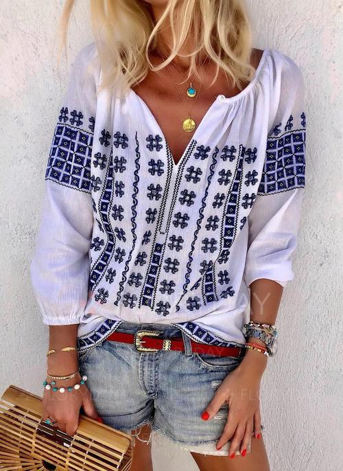Handmade Embroidered Long Sleeve Loose V-Neck Shirt Plus Size