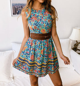 Casual Printed Zipper Round Neck Dress