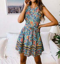 Load image into Gallery viewer, Casual Printed Zipper Round Neck Dress