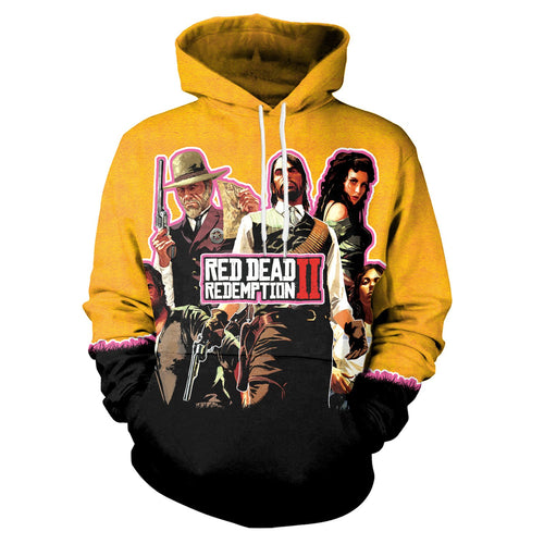 3D RED DEAD REDEMPTION 2 Printed Long Sleeve Pullover Hoodie Sweatshirt Jacket Coat