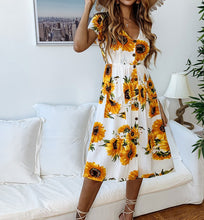 Load image into Gallery viewer, Fashion Printed Sunflower Button Female Dress