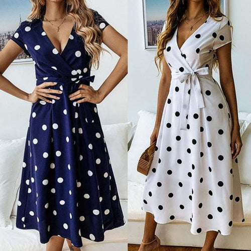 Fashion Casual V-neck Printed Polka Dot Lace Up Dress