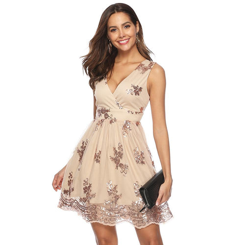 Fashion Sexy V-neck Wrap Sleeveless Sequined Women Elegant Party Mini Club Short Dress