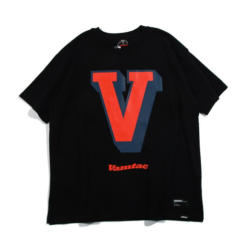 V Print Loose Hip Hop T-Shirt