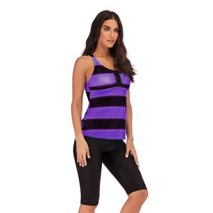 S-5XL Gradient Stripe Cropped Pants Sports Tankini Swimsuit