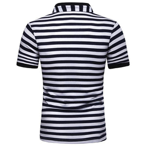 Men's V-neck Stripe Fashion Loose Short Sleeve POLOT Shirt